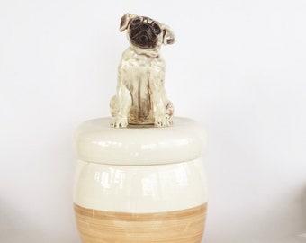 Pug Treat Jar, Pug Cookie Jar, Pug Ready to Ship Gift, Pug Jar, Pug Urn, Pug Lover Gift, Pug Memorial, Dog Cookie Jar, Pug Canister, Pug Pot