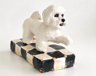 Small Bichon Frisé, Bichon Paperweight, Ceramic Bichon Frise, Bichon Lover Gift, Bichon Figurine, Bichon Memorial, Bichon Statue