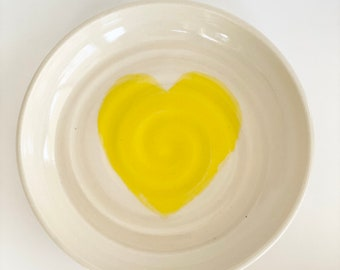 Catch All, Porcelain Dish, Small Dish, Dish For Keys, Foyer Dish, Small Porcelain Plate, Pill Dish, Pill Plate, Hearts, Heart Decor, Heart