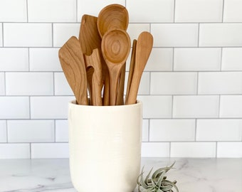 Utensil Crock, Ceramic Utensil Holder, Kitchen Utensil Holder, Kitchen Accessory, Utensil holders, Housewarming gift, Kitchen gift, Canister