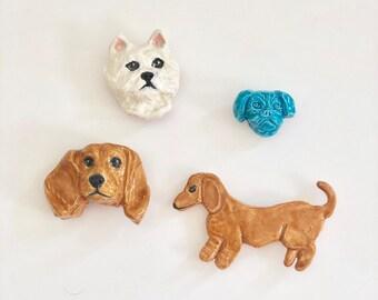 Dog Magnets, Handmade Dog Magnets, Dachshund Magnet, Westie Magnet, Pug Magnet, Cute Dog Magnet, Refrigerator Magnet, Kitchen Magnet,