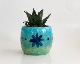 Turquoise Planter, Earthenware Pot, Pretty Aqua Pot, Teal Planter Pot, Teal Cactus Pot, Glazed Earthenware