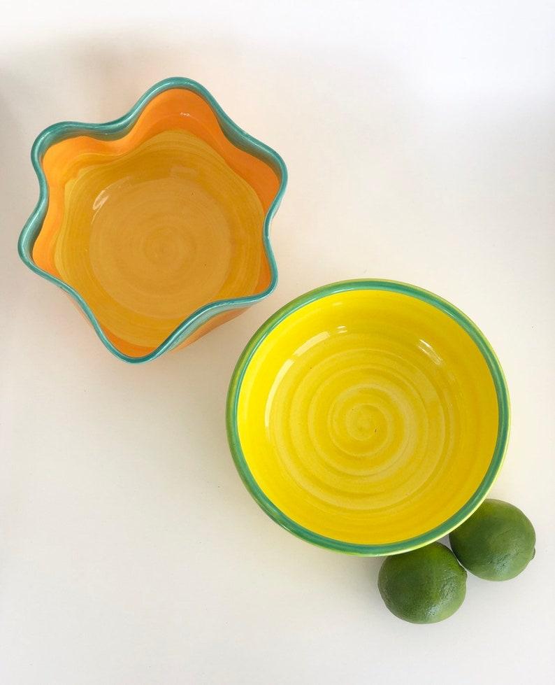 Ceramic Fruit Bowl Handmade in Green Yellow and Orange