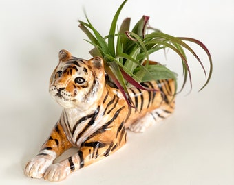 Tiger Planter, Air Planter, Tiger Art, Ceramic Planters, Jungle Planter, Animal Planter, Animal Planter Ceramic, Clay Planter, Tiger Print
