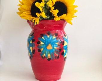Red Yellow Vase, Red Vase, Handmade Vase, Pottery Vase, Boho Vase, Southwest Vase, Bright Vase, Red Ceramic Vase, Southwest Decor
