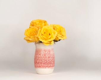 Red White Mini Vase, Mini Vase, Red Vase, Cute Vase, Mother's Day Vase, Mini White Pot, Bud Vase, Small Flower Vase, Mini Flower Vase