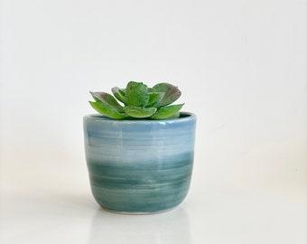 Small Cactus Pot, Small Flower Pot, Plant Pot, Planter Pot, Succulent Pot, Cactus Pot, Blue Flower Pot, Blue Planter, Small Blue Pot