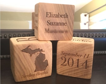 Personalized Wooden Baby Block. Personalized Shower Gift. Personalized Birthday Gift. Baby Block.