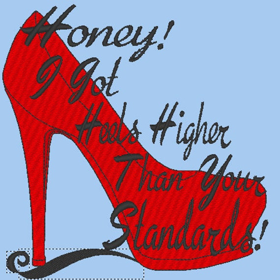 Heels Spruch Stickmuster Rote High kXZTOPiu