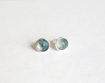 925 Sterling silver stud earrings with  natural Moss Agate