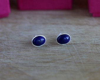 925 Sterling silver stud earrings with 6x8 mm Lapis Lazuli cabochons