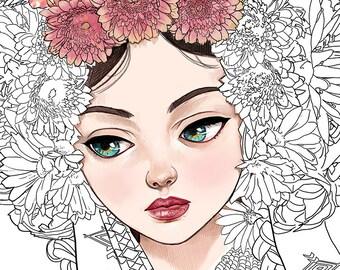 Digital Stamp-Ukrainian girl-Headdress-flowers Crown-Coral Necklace-ethinic-Fantasy-Ukraine-Line Art for cards and Crafts