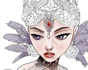 Digital Stamp-Evil Queen-queen-Evil Witch-Headdress-Snow White-Fairy Tale-Fantasy Line Art for cards and Crafts