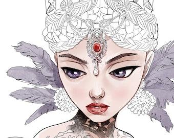 Digitale Stempel-böse Königin-Königin-böse Hexe-Kopfschmuck-Snow White-Fairy Tale-Fantasy Strichzeichnungen für Karten und Kunsthandwerk