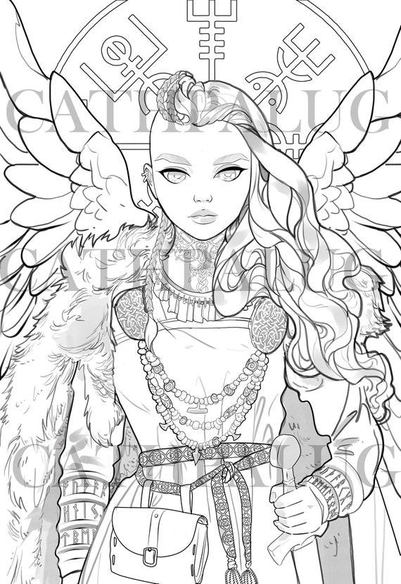 Digital Stamp Frigg Freya Goddess Norse Mythology Queen Etsy
