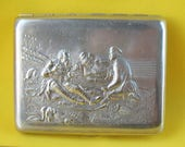 Vintage CIGARETTE CASE quot 3 Hunters quot Russian Pheasants, Partridges USSR Metal Collectable Tobacco box Soviet Cigar-case, Holder