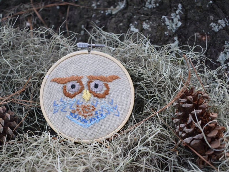 Retro Owl embroidery hoop folk horror needlepoint crewel image 0