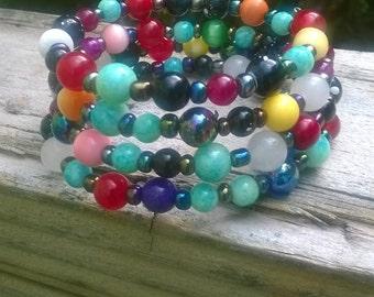 Colorful Memory Wire Bracelet /wrap bracelet