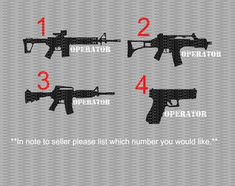 Gun Operator, Gun Decal, Operator Decal, Gun Operator Decal