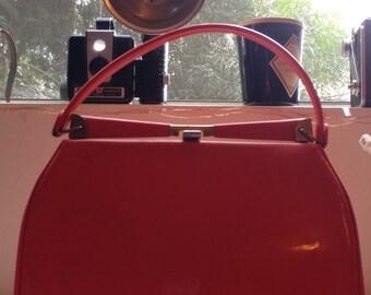 Vintage orange vinyl handbag