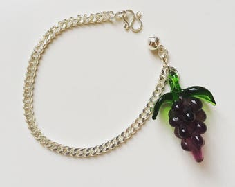 Vintage Italy fruit grapes glass charm from the 1940's silver 925 bracelet