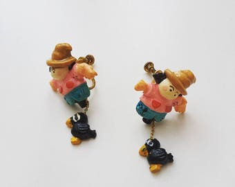 1950s rare cute hand painted plastics scarecrow dolls dangle screws back earrings