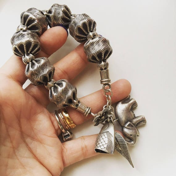 Giant Silver925 bead with elephant fish and flower with leaf charm bracelet
