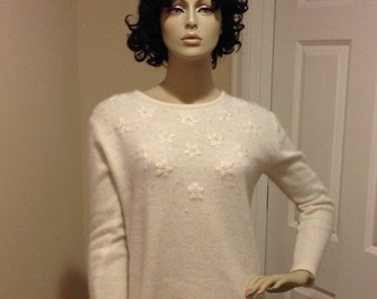 Vintage beaded angora blend sweater retro