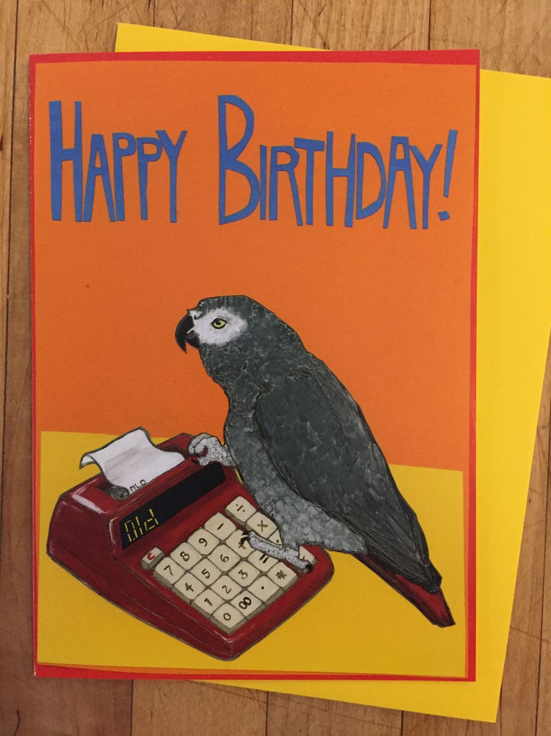 Grey Parrot Birthday Card image 0