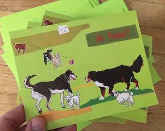 Hi Friend Boxed Blank Note Cards with Dogs