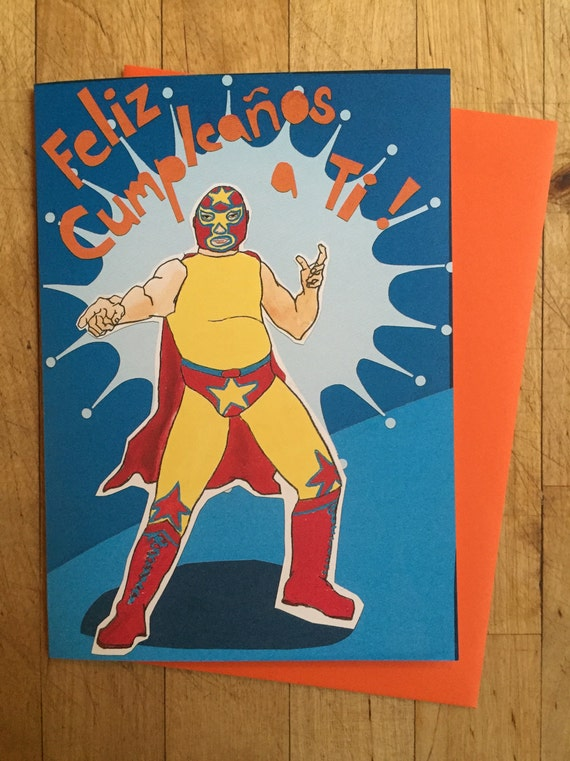 Wrestler Birthday Card Etsy