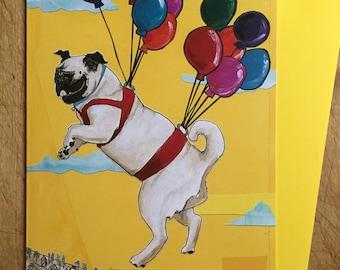 Flying Pug Birthday Card