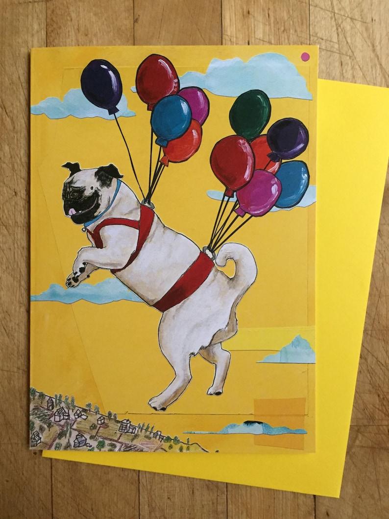 Flying Pug Birthday Card image 0