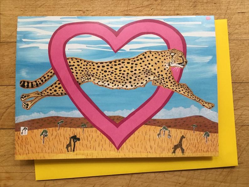 Cheetah Valentine Card image 1