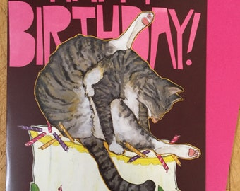 Bad Cat Birthday Card!