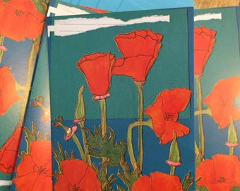 Poppies boxed blank note cards