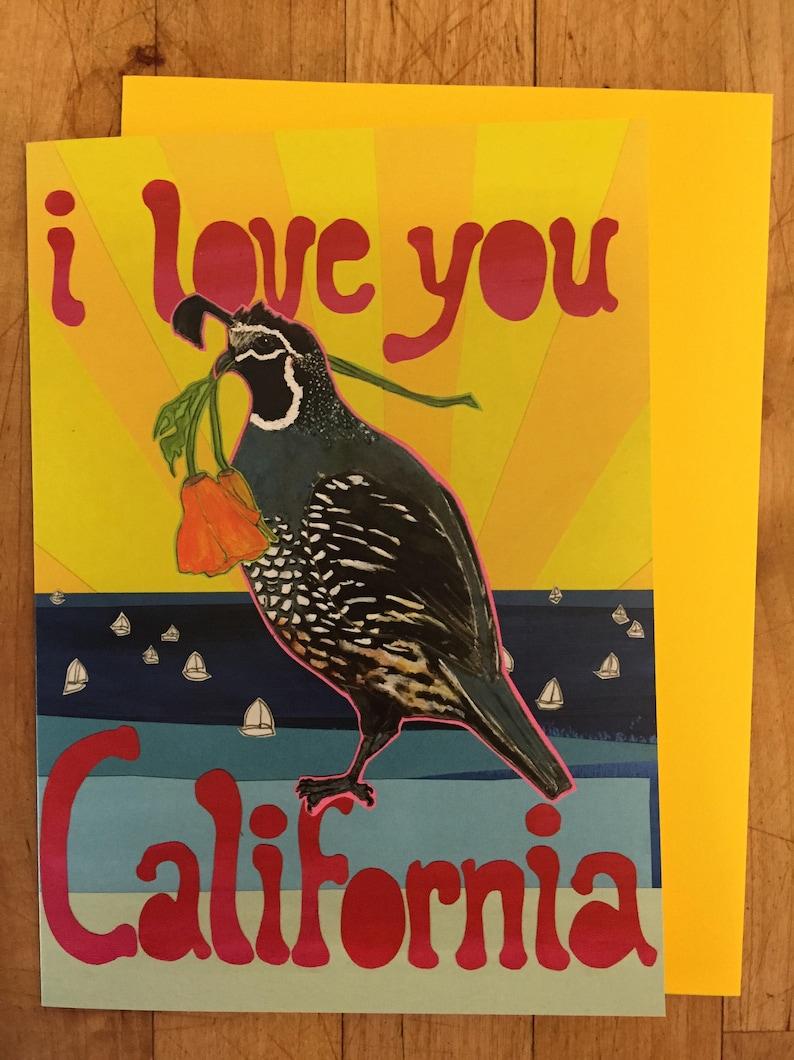 Love You California Blank Greeting Card image 0