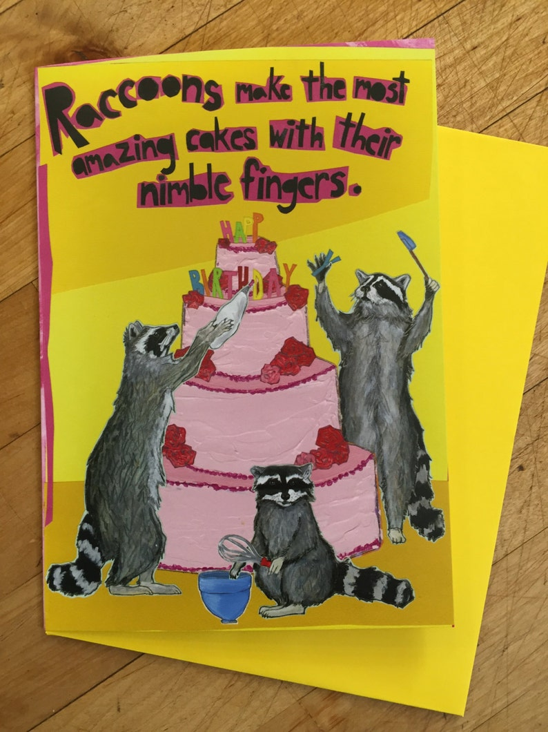 Raccoon Cake Making Birthday Card image 0