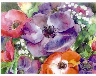"Postcard ""anémones"". Reproduction of original watercolor."
