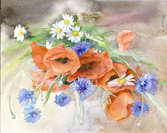 Poppies and bleuets_ original watercolor painting