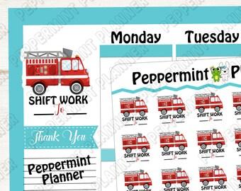 Firefighter shift work --- planner stickers --- 657