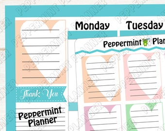 Heart Note Box --- Planner Stickers --- 586