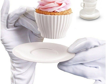 Set 4 cups silicone with their saucers plastic Cupcake Muffin party