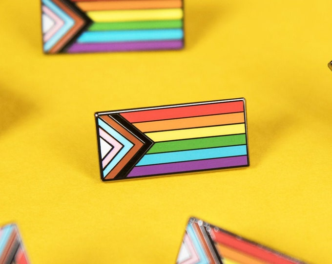 Featured listing image: The Progress Pride Flag Enamel Pin
