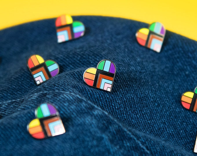 The Progress Pride Rainbow Heart Pin