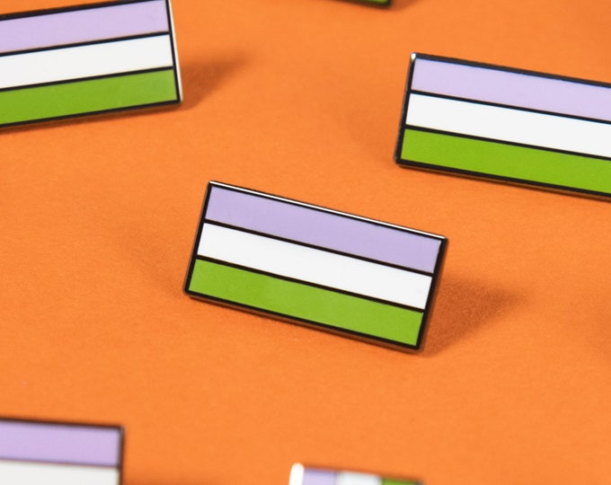 The Genderqueer Flag Enamel Pin