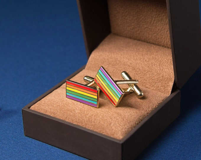 Gold-Plated Rainbow Pride Cufflinks