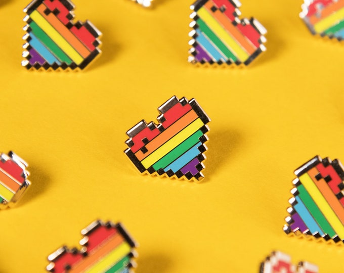 Limited Edition: The Rainbow Pixel Heart Pin