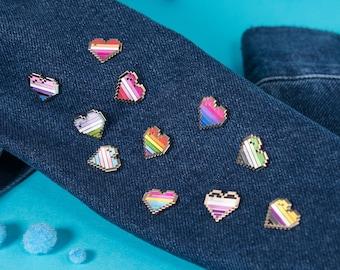 LGBT Pixel Pride Flag Heart Pins