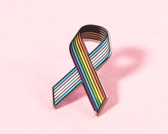 Rainbow Cancer Awareness Ribbon: Live Through This + The Pin Prick Charity Pin